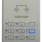 Botoeira de cabine com botão MX retangular AL, PO, T, 1  a 19, Braille, interfone, luz de emergência e janela para IPD 50mm - Led Azul